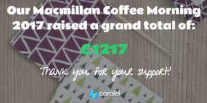 Grand total - Macmillan charity coffee morning