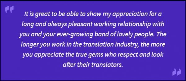 Translator testimonial - It is great to be able to show my appreciation for...